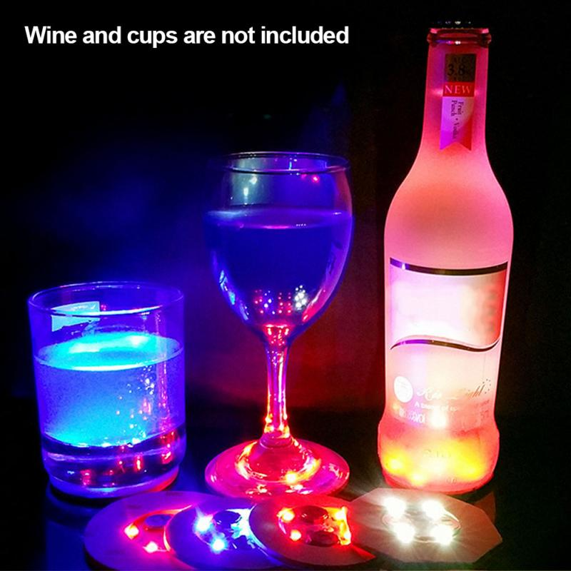 Mini Glow Coaster LED Bottle Light Stickers Christmas Xmas Nightclub Bar Party Vase Decoration LED Glorifier Drink Cup Mat 2 in Mats Pads from Home Garden