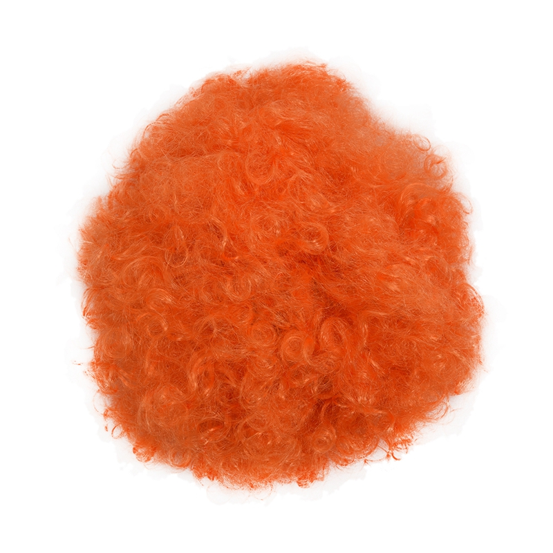 Halloween Men Women Orange Curly Afro Circus Clown Wig