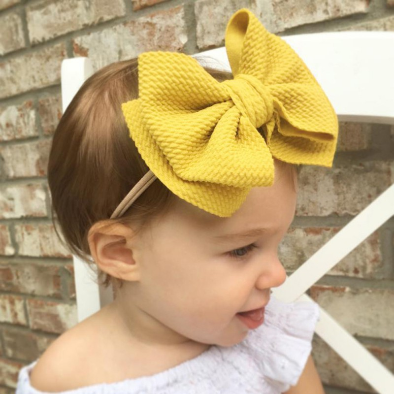 Cute Baby Girls Hairband Soft Hairband Bowknot Headwear Girl Hair Accessories Elastic Band