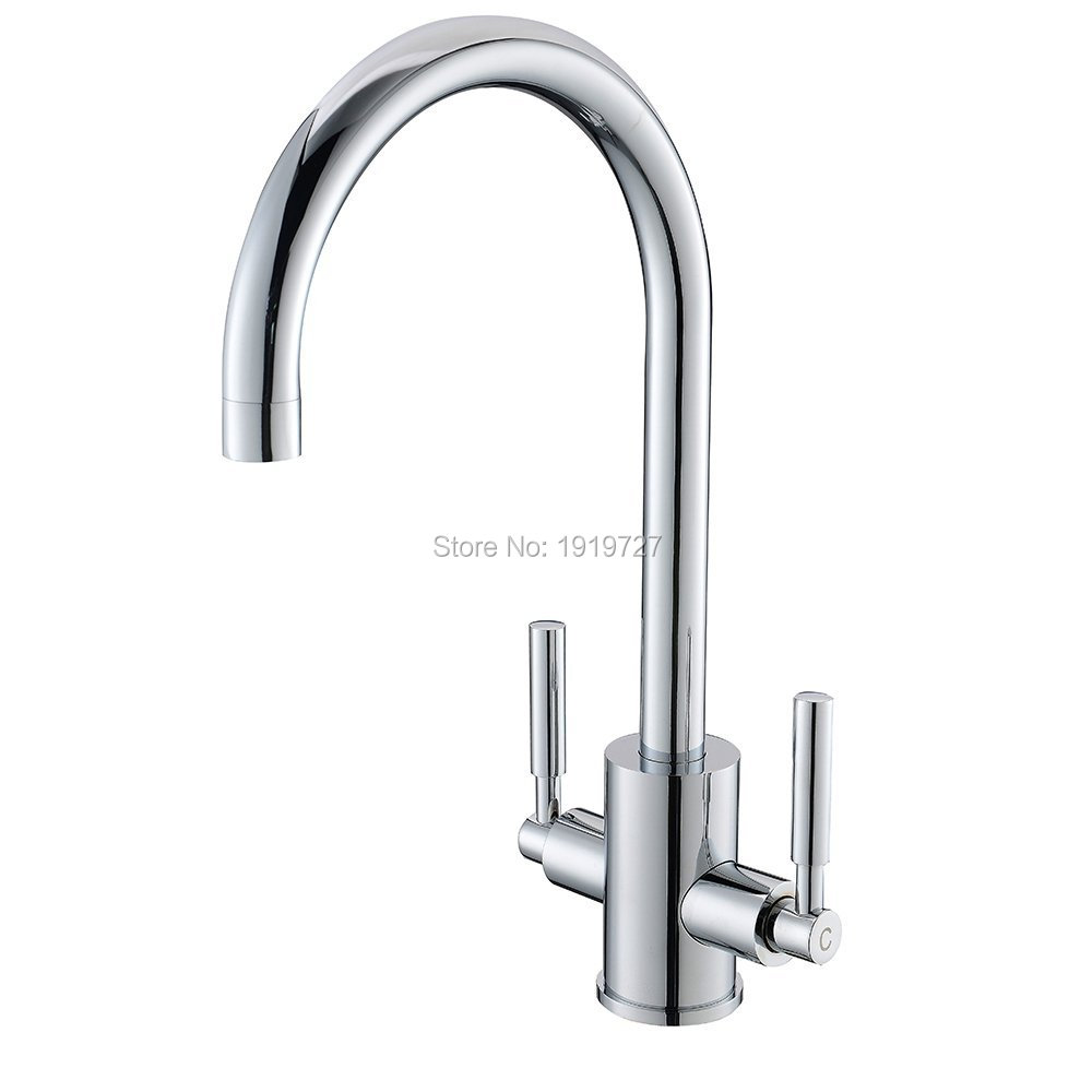 Wholesale High Quality 100% Solid Brass Double Handle Swivel Spout Kitchen Sink Mixer Taps Silver Chrome Mixer Sink Tap led spout swivel spout kitchen faucet vessel sink mixer tap chrome finish solid brass free shipping hot sale