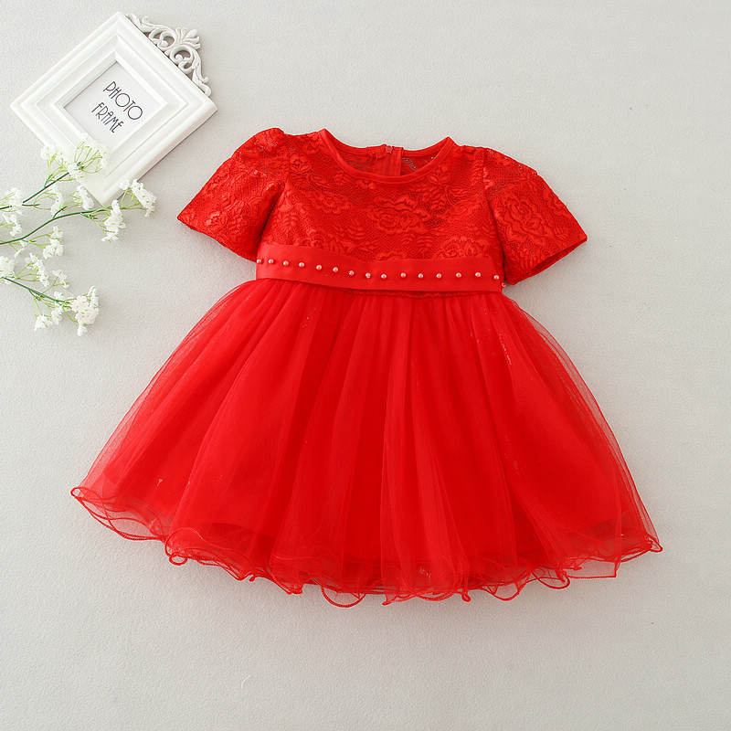 Summer Lace Baby Girl Christening Dress White and Red Baby Girl ... 92d3ce3cb68f