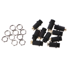 10 Pcs 3.5mm 4 Channel Female Headphone Stereo Jack Panel Mount Connector Gold Plated
