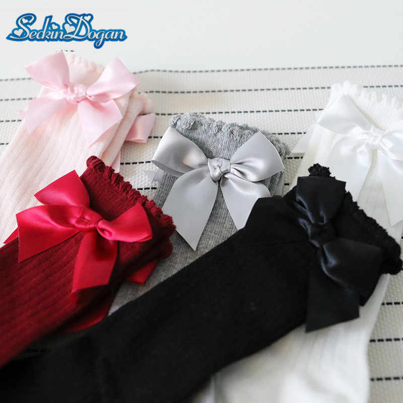 SeckinDogan Baby Girl Socks Bow Knee Newborn Socks High Long Baby Socks  Soft Cotton Infant Socks Lace Princess Dress Socks