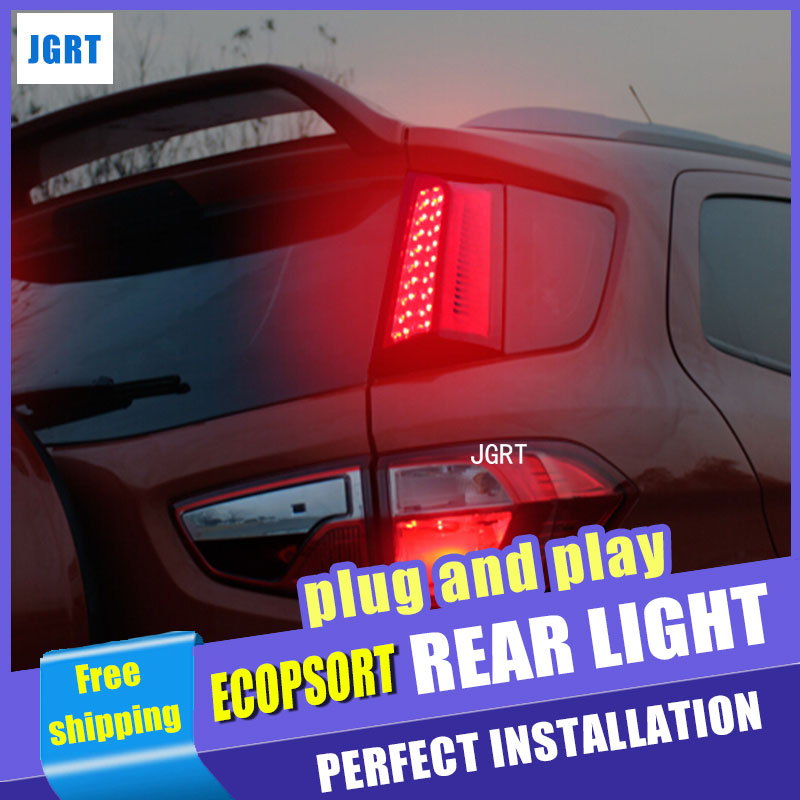 все цены на Car Styling Accessories for Ford Ecopsort Taillight assembly 2014-2015 LED Tail Light LED Rear Lamp DRL+Brake with hid kit 2pcs. онлайн