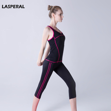 LASPERAL Women Yoga Set  Crop Top + Skinny Elasticity Pants Capris Running Sport Suit Gym Slim Sportwear Girl Lady Fitness Sets