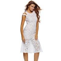 lace dresses for women 2017 Creamy Cutout Shoulder Mermaid Style Midi Office Party Dress Vestidos De Festa white