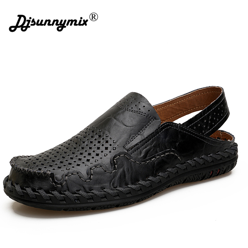 DJSUNNYMIX Genuine leather men sandals summer cow leather new for beach male shoes mens gladiator sandal leather sandals 38-45