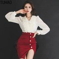 TUHAO 2019 Spring 2 Piece Set Elegant Women Suit Long Sleeves Tops Shirt Blouse Red Split Skirts Crop Top Skirt Sets woman