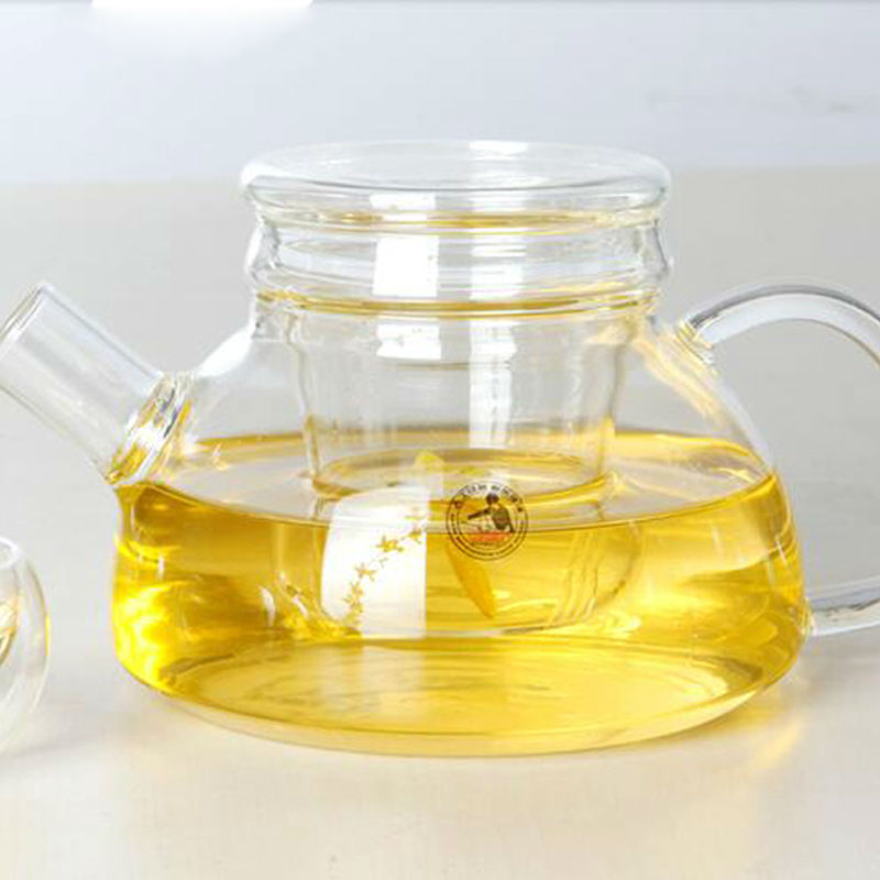 Drinkware 750ml Handmade glass teapot transparent flower tea pot with filter glass kettle
