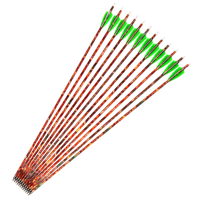 30″ Spine 500 Carbon Arrows 6/12/24pcs OD7.8mm with Green White Feathers and Replaceable Arrowhead Recurve Bow Archery Hunting
