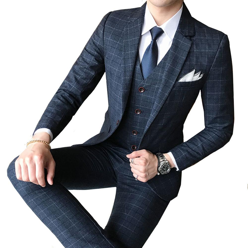 8ab276435 Comprar (Jaqueta + Colete + Calça) 2018 Nova Boutique de Moda masculina  Xadrez Banquete de Casamento Três peça Masculina de Negócios Formal Ternos  de ...