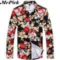 Печатные мужчины рубашка новое поступление мода марка цветочные свободного покроя тонкий нужным диких разделе мужчины с длинным рукавом Camisas 3XL Z1451-Euro
