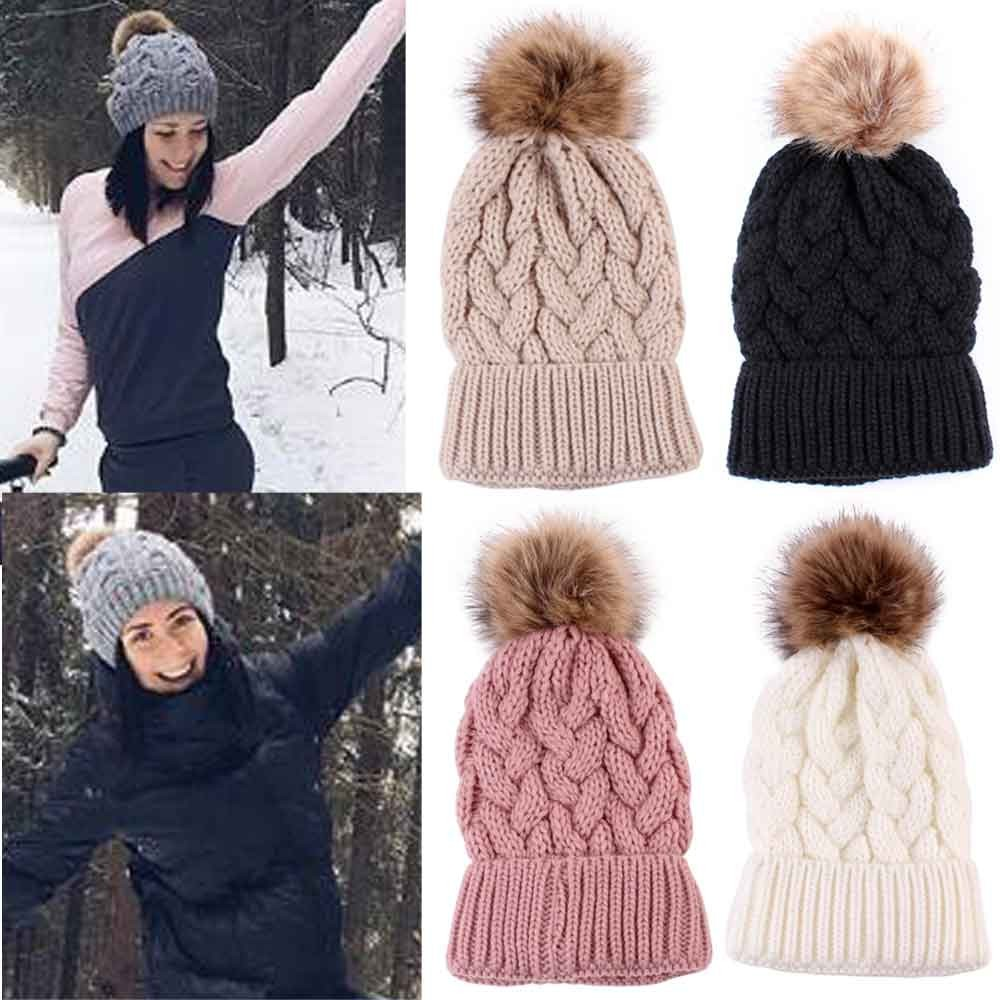 Winter Women Knitted Hats Fashion Warm Pom Pom Wool Hat 2018 Ladies Skullies Beanie Solid Female Outdoor Caps(China)