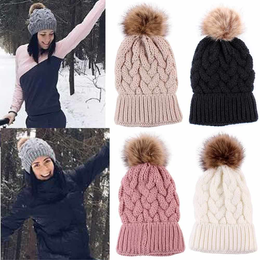 Winter Women Knitted Hats Fashion Warm Pom Pom Wool Hat 2018 Ladies Skullies Beanie Solid Female Outdoor Caps