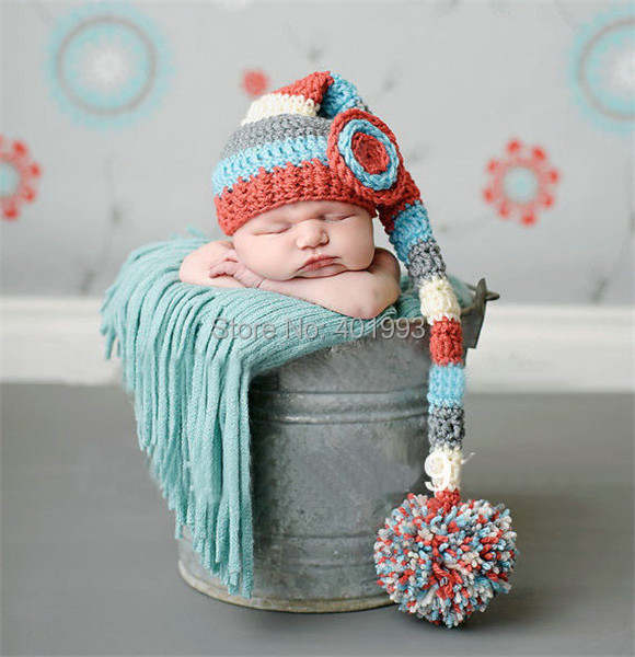 fd74b4f454487 placeholder New Crochet Baby Hats Elf Hat Christmas Hat newborn Baby Photo  Prop Hat baby long tail