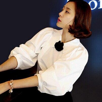 Mode d'été chaud à la mode femmes blouse chemises femme lanterne manches chemise revers Slim OL tempérament