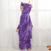 Cute Cartoon Animal Colored Unicorn Pajamas Flannel Hooded Long Sleeve Adult Unicorn Pajamas Sleepwear For Women