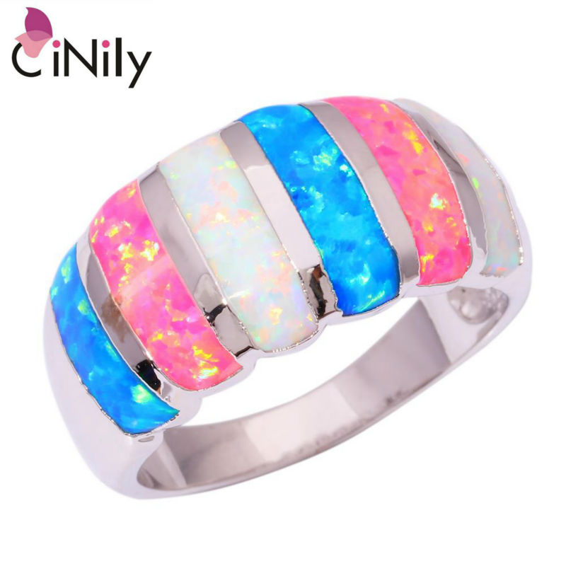 CiNily Created White Blue Pink Fire Opal Silver Plated Ring Wholesale Retail Hot Sell For Women