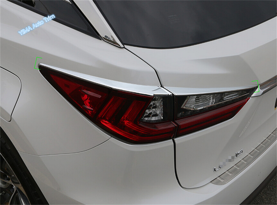 Lapetus Car Styling Exterior Fit For <font><b>Lexus</b></font> <font><b>RX</b></font> RX450h 2016 <font><b>2017</b></font> 2018 2019 2020 ABS Chrome Rear Tail Light Lamp Eyebrow Cover Trim image