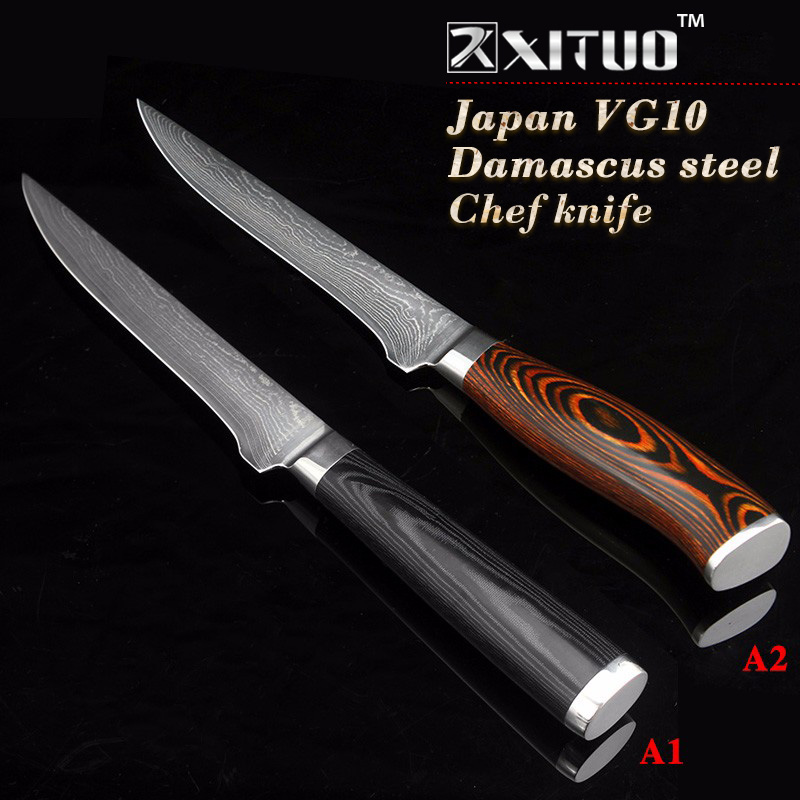 XITUO 5 5 inch damascus boning knives utility Japanese vg10 damascus steel chef knife Micarta handle