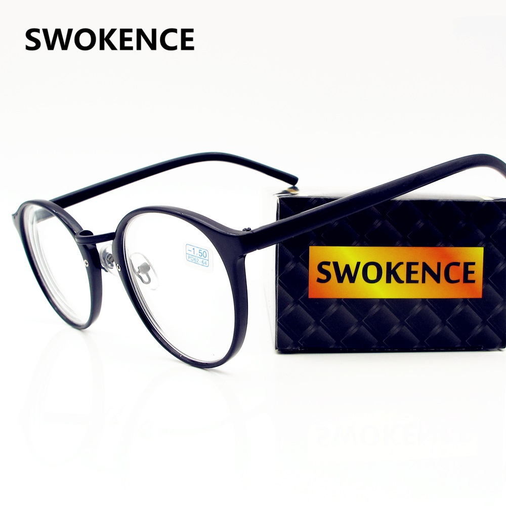 SWOKENCE End Myopia Glasses -1.0 -1.5 -2.0 -2.5 -3.0 -3.5 -4.0 Men Women Fashion Round Frame Finished Short Sight Glasses F116