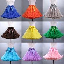 Купить с кэшбэком 2020 Hot Sale Colorfulle Tutu Petticoat Ruffled Knee Length Short Woman Petticoat Underskirt Tulle Bridal Petticoat Real Sample