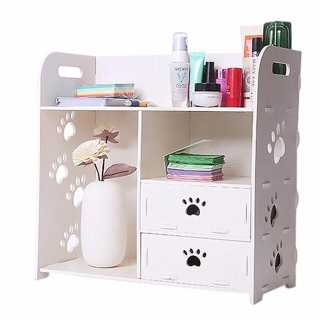 Nave del reino unido, madera DIY escritorio blanca Organier pequeño ...