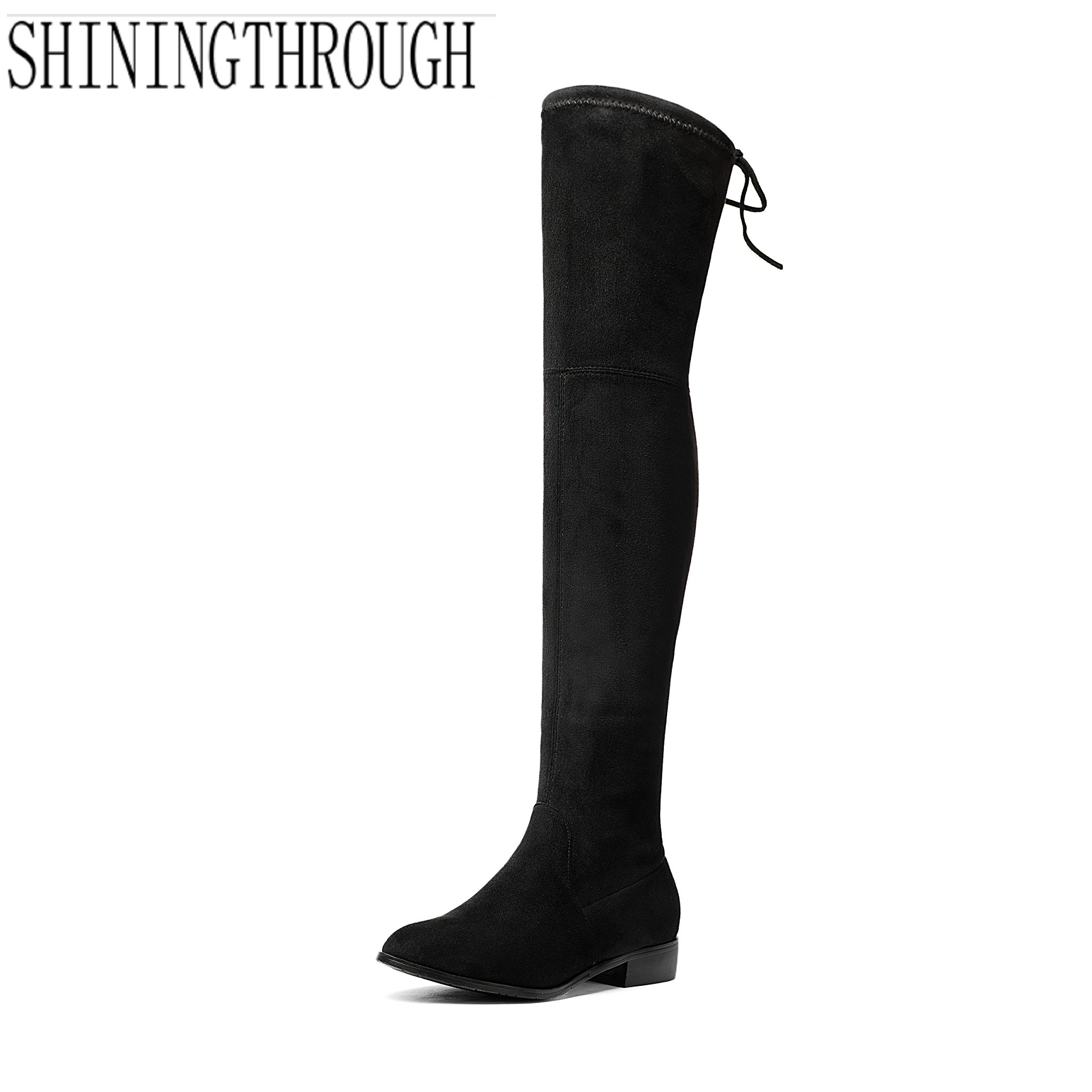 2018 Womens Over The Knee Boots Autumn Winter Slip-on Shoes Square Heel rouned Toe Sexy Thigh High Boots Over Knee