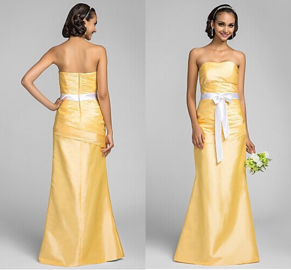 Light yellow bridesmaid dresses strapless sleeveless with white light yellow bridesmaid dresses strapless sleeveless with white sashes beach floor length satin vestido de festa dress to party in bridesmaid dresses from ombrellifo Images