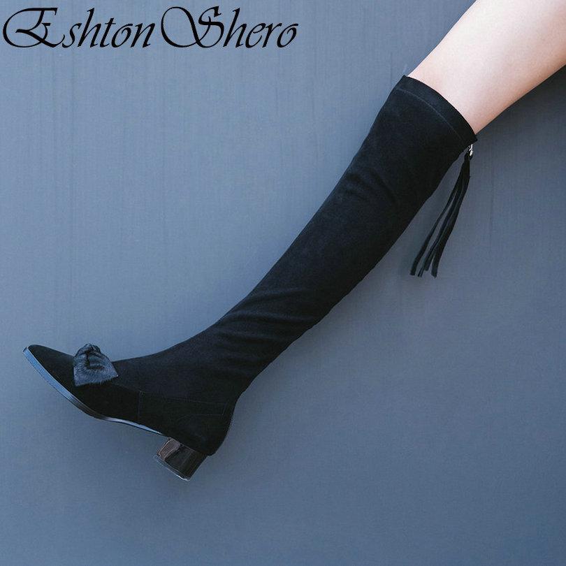Sur Plate Le Boot 39 Chaussures Carré forme Dames Talon Taille Eshtonshero Genou Femmes Pointu Bout Femme Moto 34 Noir Med De Mode Bottes EA7xxnqp