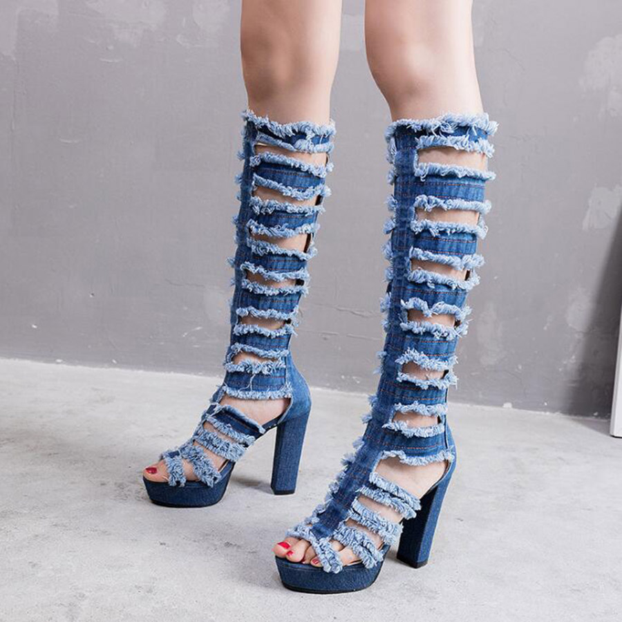 New Fashion Women Knee High Boots Square High heel Sexy Cut-out Jeans Boots Summer Cool Boots Breathable Denim Women's Shoes