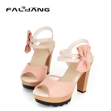 Women Summer Sweet Thick Heel Sandals High-heeled Shoes Open Toe Bow Hook