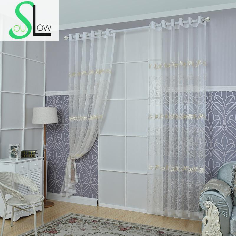 lento soul blanco cortinas de flores de tul para la sala de estar cocina dormitorio moderno