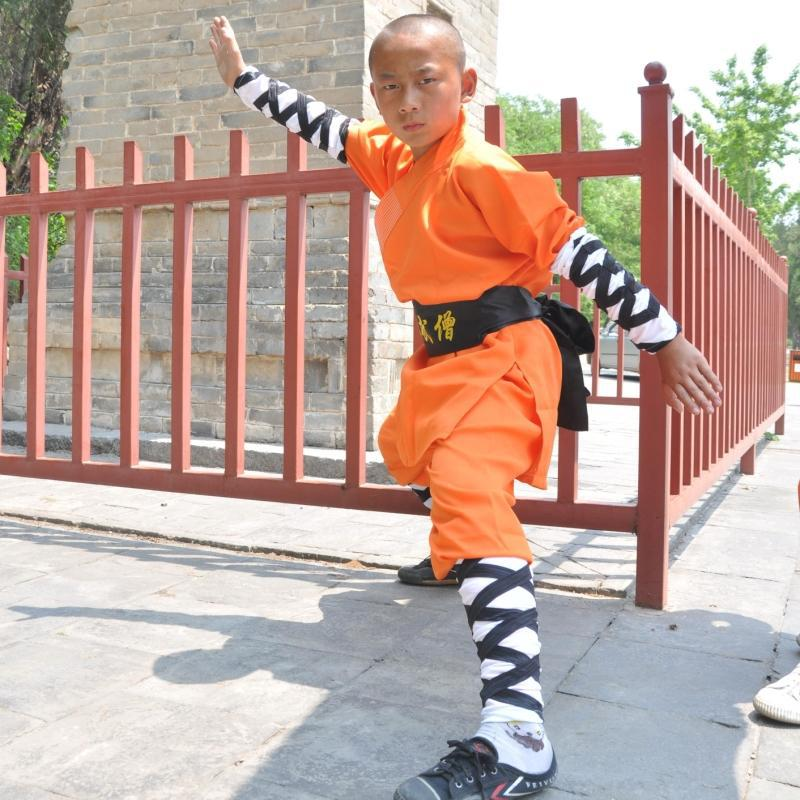 USHINE 07 Height 100cm-185cm Cotton ShaoLin Monk KungFu Uniform Training Performance Suits Clothing Costume For Man Children