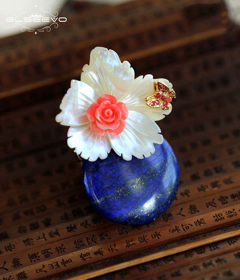 GLSEEVO Luxury Natural Mather-Of-Pearl Flower Brooches For Women Lapis Lazuli Pendant Dual Use Brooch Pins Fine Jewelry GO0061 glseevo natural lapis lazuli flower brooch pins and brooches for women accessories birthday gifts dual use luxury jewelry go0183