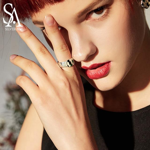 SA SILVERAGE แท้ Medusa Series 925 เงินสเตอร์ลิง Engagemant งานแต่งงานแหวนเงิน 925 สีชุบแหวนผู้หญิงเครื่องประดับ