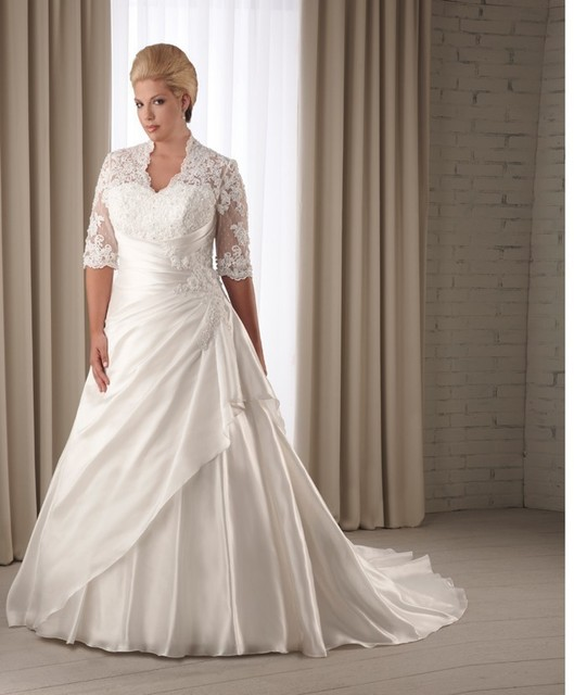 Big Women Lace Up Back Mid Sleeves Wedding Dress Plus Size-in ...