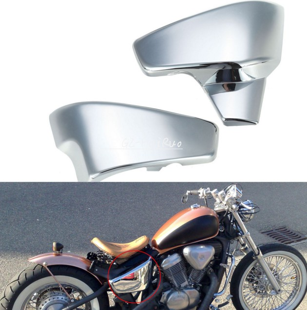 Chrome Copertura Batteria Laterale fit for Honda VT 600 C CD (Shadow VLX Deluxe) metal 19cm motorcycle saddle bag support bar mount brackets for honda shadow aero vt vlx