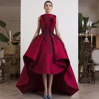 Elegant Long Evening Gown Arabian Applique Womens Dresses High Low Turtleneck Floor Length Formal Party Dresses Custom Made