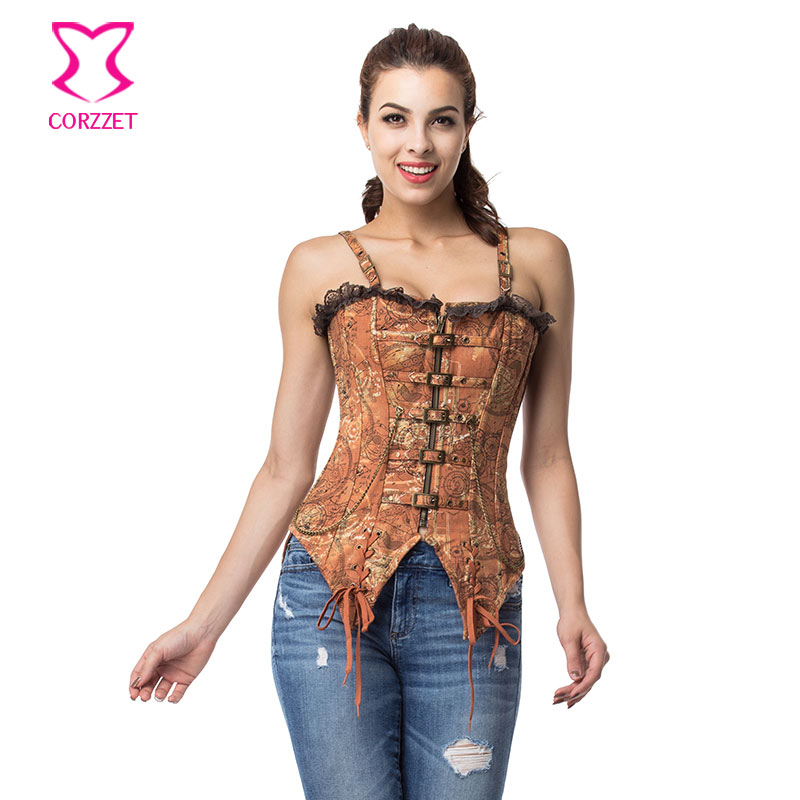Brown Straps Zipper Espartilhos E Corpetes Korsett For Women Sexy   Corsets   And   Bustiers   Vintage Gothic   Corset   Steampunk Clothing
