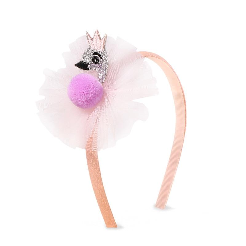 Hair Accessories Yarn Hairbands for Baby Girls Flamingo PomPom Headband Glitter Hair Hoop for Children Handmade Hair Headdress in Hair Accessories from Mother Kids