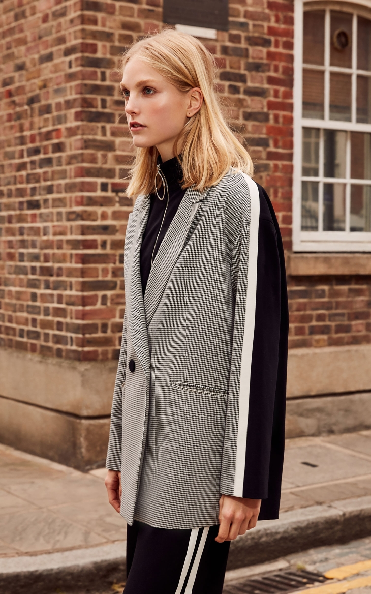 Vero Moda 19 New Stripe Splice Knitted Houndstooth Suit Jacket Plaid women Long Blazer 318308536 11