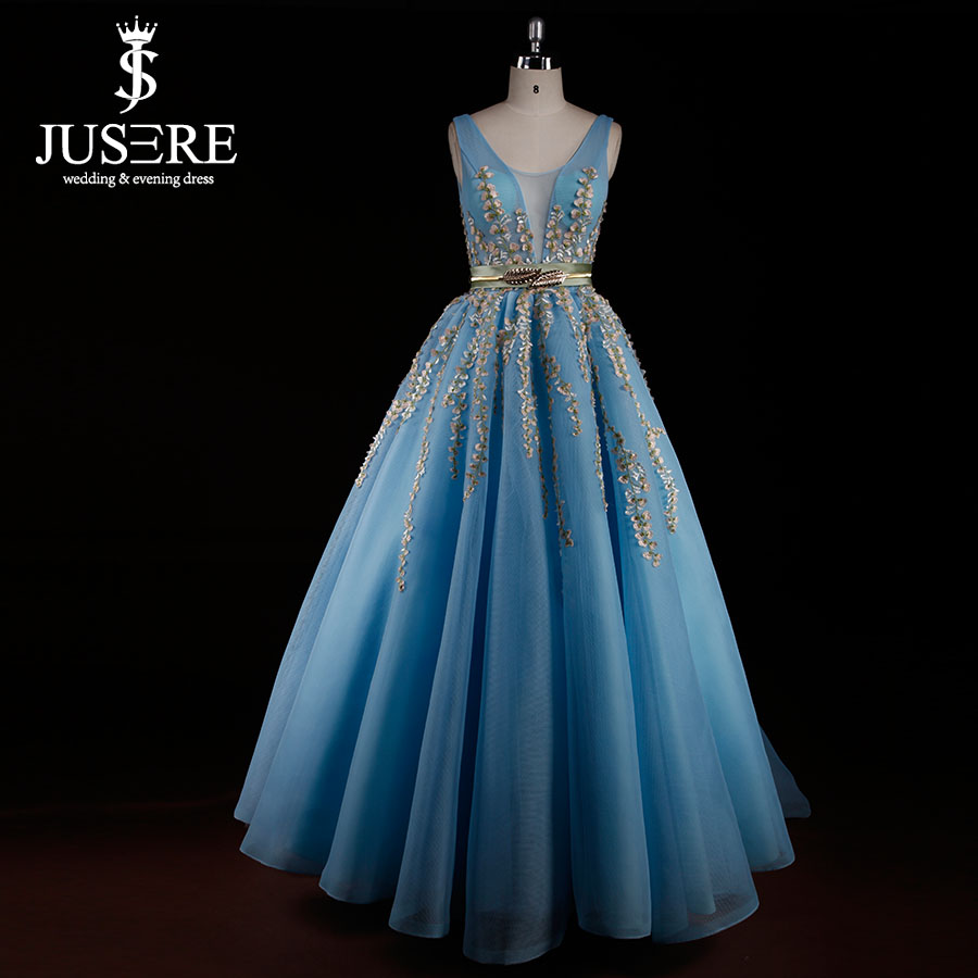 2017 New Sky Blue Netting Prom Dresses A line Handcraft Floral ...