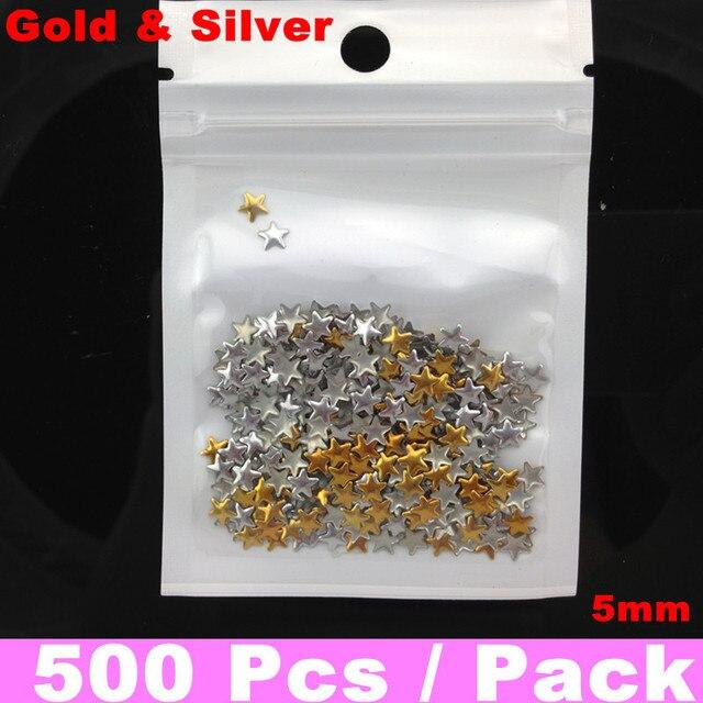 500pcs/bag Star Gold & Slive 5mm Nail Metallic Decoration 3D Metal alloy Nail Art Decoration + Free Shipping