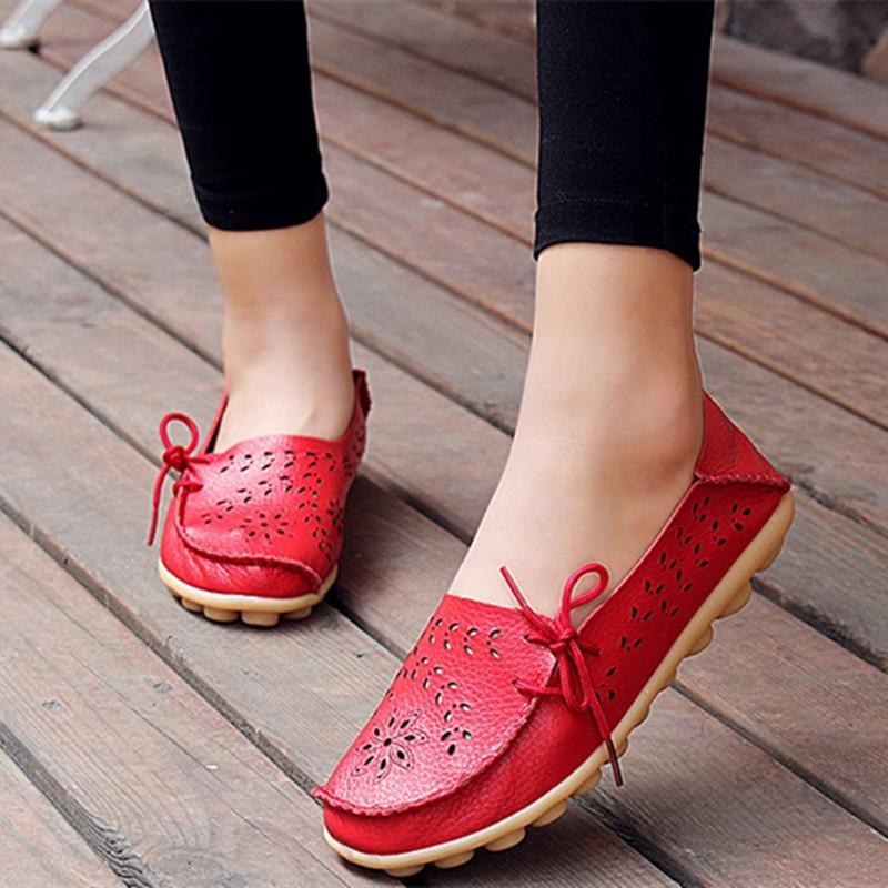 Plus sizes women flat shoes spring woman casual loafers shoes hollow out female footwear candy color shoe flats Hot sale DGT679