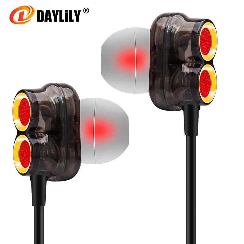 DAYLiLY D7 headphones mobile phone Earphones Shocked  bass fone de ouvido  Microphone music headset computer mp3 auriculares kz n1 headphones mini dual driver extra bass turbo wide sound audifonos headset field auriculares headphones dj fone de ouvido