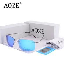 AOZE Luxury Brand Polarized Driver sunglasses Men Ultra Light Titanium Alloy Goggles UV400 male Retro Goggles sun glasses