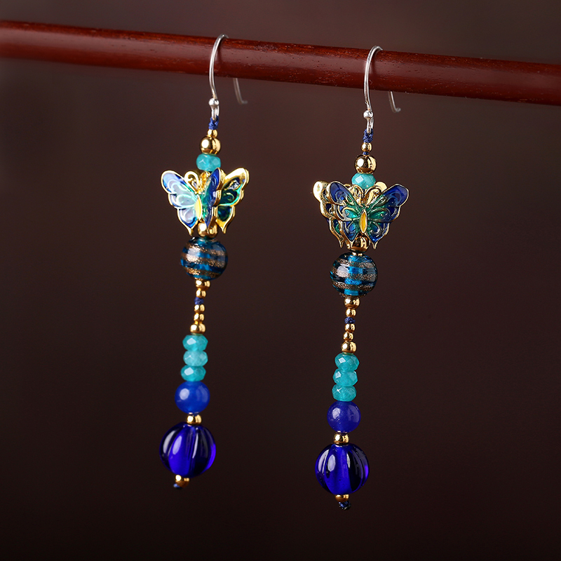 925 Earrings Jewelry alloy Handmade High Quality Jewelry Earring For Women Drop Flower Vintage Wedding Accessories pair of vintage alloy emboss beads triangle earrings for women