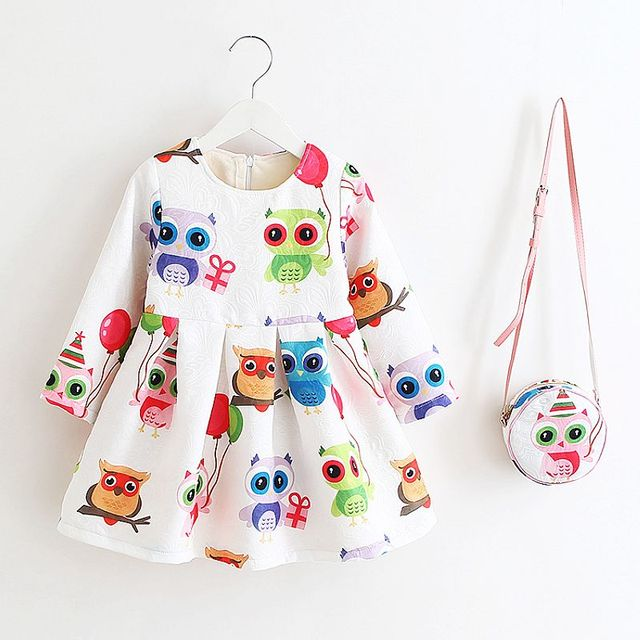 Princess Girls Dress Long Sleeve 2017 Autumn Brand Children Christmas Dress with Bag Printed Kids Dresses for Girls Clothing
