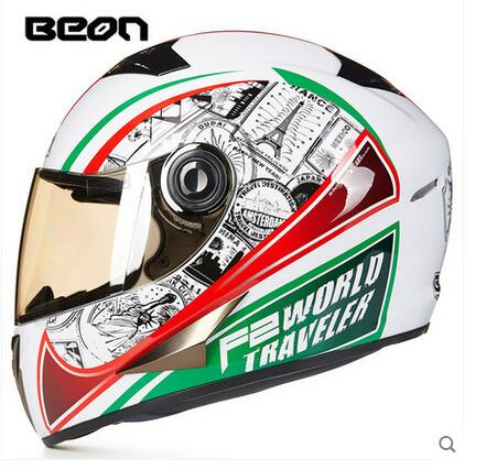 2016 Eiffel Tower BEON B-500 full face motorcycle helmet, white geen red motocross motorbike MOTO helmets for men/women M L XL eiffel tower car pattern protective tpu case for iphone 5 5s white red
